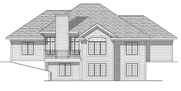 House Plan 99160 | European Style Plan with 2731 Sq Ft, 3 Bedrooms, 3 Bathrooms, 3 Car Garage Rear Elevation