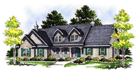 House Plan 99161 | Cape, Cod, Country Style House Plan with 2513 Sq Ft, 3 Bed, 3 Bath, 2 Car Garage Elevation