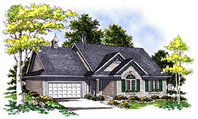 House Plan 99163 | European Traditional Style Plan with 1600 Sq Ft, 3 Bedrooms, 2 Bathrooms, 2 Car Garage Elevation
