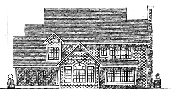 European Farmhouse Tudor House Plan 99165 Rear Elevation