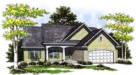 Ranch House Plan 99167 with 3 Beds, 2 Baths, 2 Car Garage Elevation