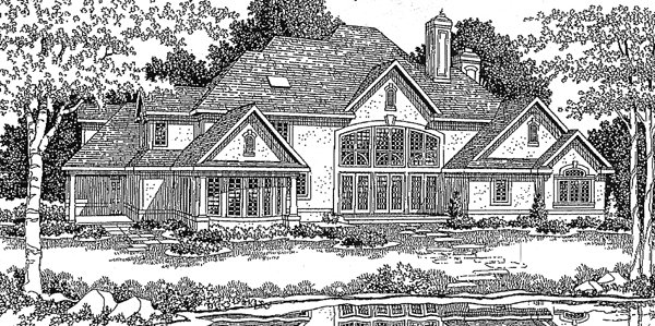 Tudor , European House Plan 99170 with 4 Beds, 5 Baths, 3 Car Garage Rear Elevation