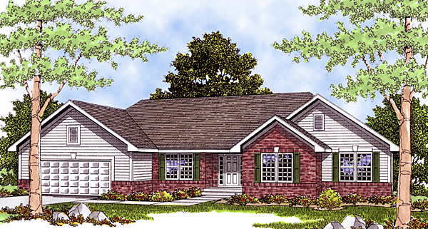 House Plan 99174 | Bungalow Ranch Style Plan with 1859 Sq Ft, 3 Bedrooms, 3 Bathrooms, 3 Car Garage Elevation