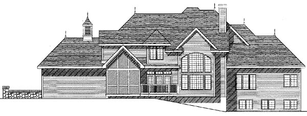 European Tudor House Plan 99177 Rear Elevation