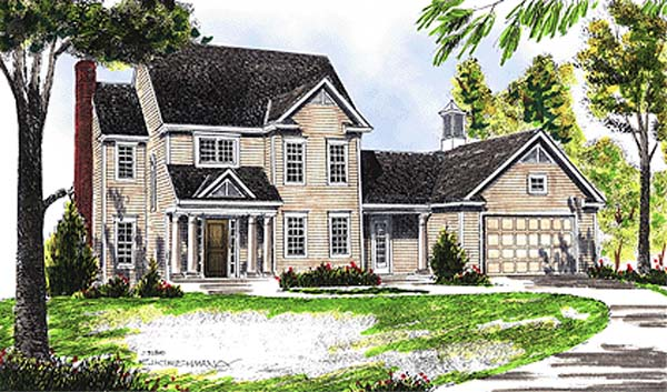 Colonial, Country House Plan 99183 with 3 Beds, 3 Baths, 2 Car Garage Elevation