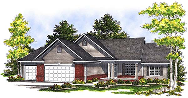One-Story, Ranch House Plan 99185 with 3 Beds, 3 Baths, 3 Car Garage Elevation