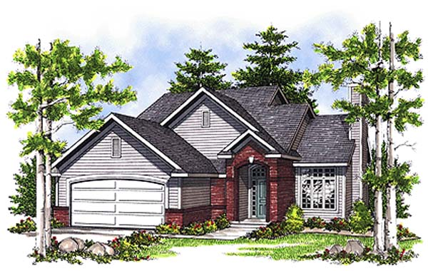House Plan 99186 | Country Style Plan with 1406 Sq Ft, 3 Bedrooms, 3 Bathrooms, 2 Car Garage Elevation