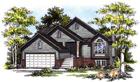 House Plan 99189 | Traditional Style Plan with 1337 Sq Ft, 3 Bedrooms, 3 Bathrooms, 2 Car Garage Elevation
