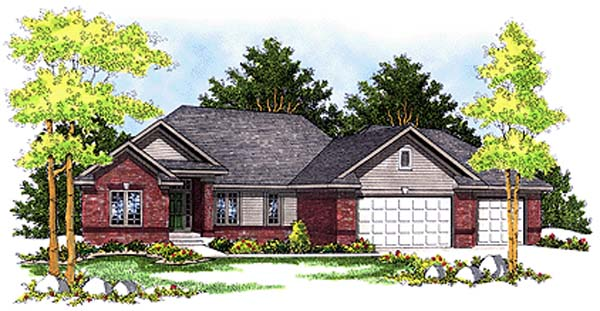 European House Plan 99191 with 3 Beds, 2 Baths, 3 Car Garage Elevation