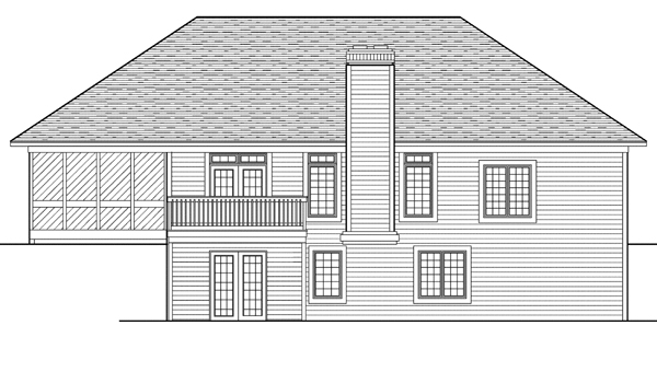Rear Elevation of Plan 99198