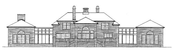 House Plan 99204 | Colonial Style Plan with 5083 Sq Ft, 4 Bedrooms, 5 Bathrooms, 2 Car Garage Rear Elevation
