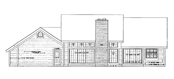 Contemporary Ranch House Plan 99208 Rear Elevation