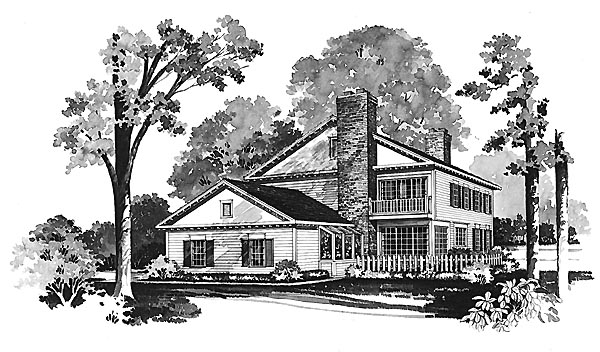 Colonial House Plan 99209 Rear Elevation