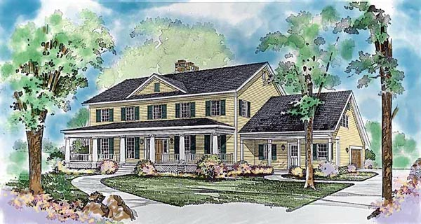 Colonial Country House Plan 99210 Elevation