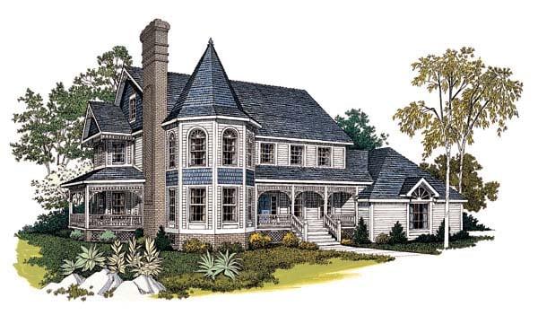 Farmhouse , Victorian House Plan 99211 with 4 Beds, 4 Baths, 2 Car Garage Elevation