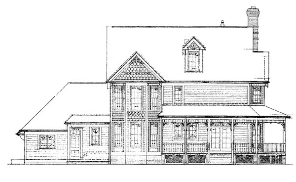 Farmhouse Victorian House Plan 99211 Rear Elevation