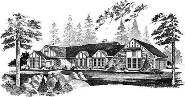 Bungalow Tudor House Plan 99225 Elevation