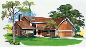 Contemporary , Bungalow House Plan 99229 with 3 Beds, 3 Baths, 2 Car Garage Elevation