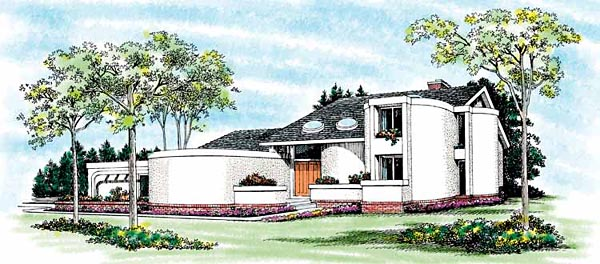 Contemporary , Santa Fe House Plan 99230 with 2 Beds, 4 Baths, 2 Car Garage Elevation