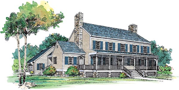 Colonial Country House Plan 99239 Elevation