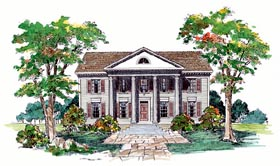 Southern , Colonial House Plan 99245 with 4 Beds, 3 Baths, 2 Car Garage Elevation