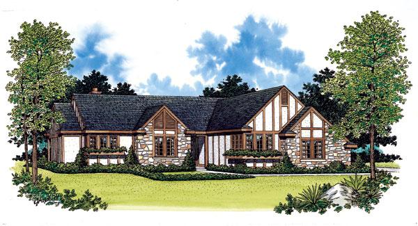 Tudor House Plan 99247 with 3 Beds, 3 Baths, 2 Car Garage Front Elevation