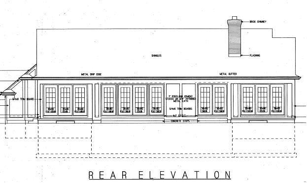 Tudor House Plan 99247 with 3 Beds, 3 Baths, 2 Car Garage Rear Elevation