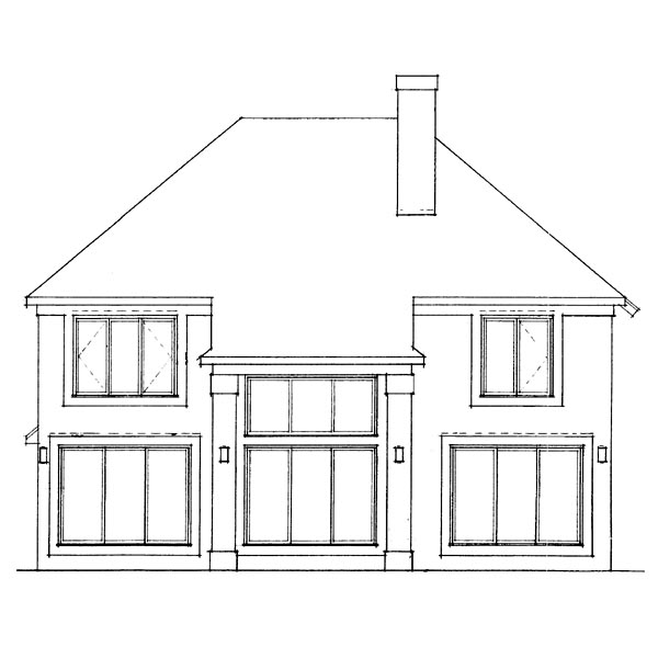 European House Plan 99248 Rear Elevation