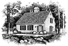 House Plan 99249   Cape Cod Country Style Plan with 1693 Sq Ft, 3 Bedrooms, 3 Bathrooms Elevation