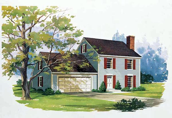 House Plan 99255 | Colonial Style Plan with 1400 Sq Ft, 3 Bedrooms, 3 Bathrooms, 2 Car Garage Elevation