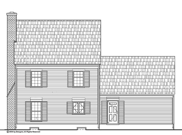 House Plan 99255 | Colonial Style Plan with 1400 Sq Ft, 3 Bedrooms, 3 Bathrooms, 2 Car Garage Rear Elevation