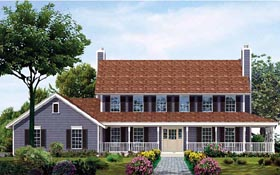 Colonial , Country House Plan 99270 with 4 Beds, 4 Baths, 2 Car Garage Elevation