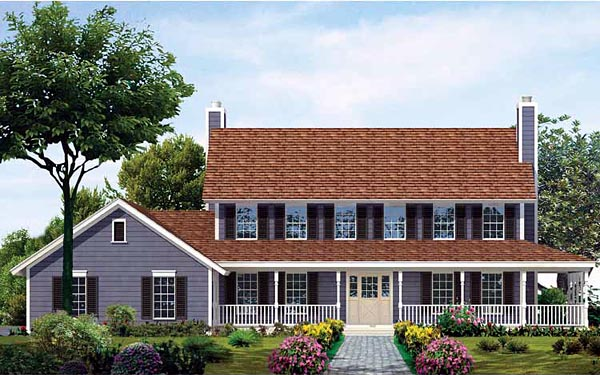 Colonial, Country House Plan 99270 with 4 Beds , 4 Baths , 2 Car Garage Elevation