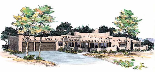 Santa Fe , Southwest House Plan 99272 with 4 Beds, 4 Baths, 3 Car Garage Elevation