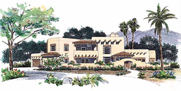 Santa Fe Southwest House Plan 99273 Elevation