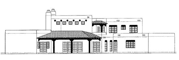 Santa Fe Southwest House Plan 99273 Rear Elevation