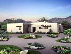 Santa Fe Southwest House Plan 99274 Elevation