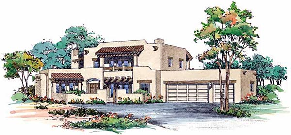 Santa Fe, Southwest House Plan 99275 with 4 Beds, 4 Baths, 3 Car Garage Elevation