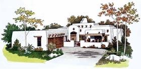 House Plan 99276 | Santa, Fe, Southwest Style House Plan with 2350 Sq Ft, 4 Bed, 3 Bath, 3 Car Garage Elevation