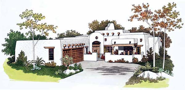 Southwest, SantaFe, House Plan 99276 with 4 Beds, 3 Baths, 3 Car Garage Elevation