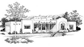Santa Fe, Southwest House Plan 99279 with 3 Beds, 3 Baths, 2 Car Garage Elevation