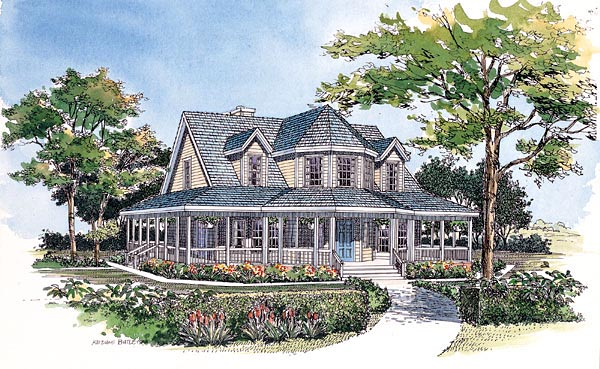 Farmhouse Victorian House Plan 99286 Elevation