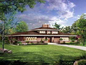 Prairie Style , Southwest House Plan 99288 with 3 Beds, 3 Baths, 2 Car Garage Elevation