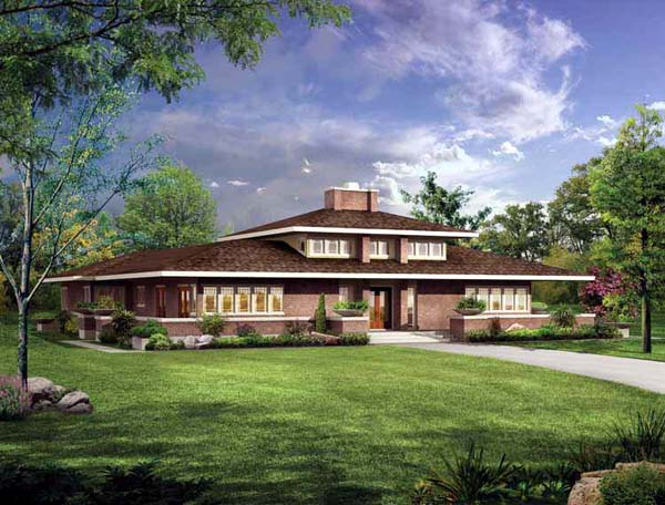 Prairie Style Southwest House Plan 99288 Elevation