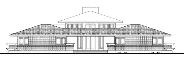 Prairie Style Southwest House Plan 99288 Rear Elevation