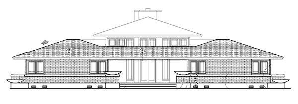 Prairie Style , Southwest House Plan 99289 with 5 Beds, 4 Baths Rear Elevation
