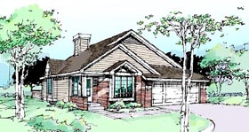 Traditional House Plan 99302 with 2 Beds, 2 Baths, 2 Car Garage Elevation