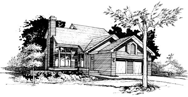 Contemporary House Plan 99305 with 3 Beds, 2 Baths, 2 Car Garage Elevation