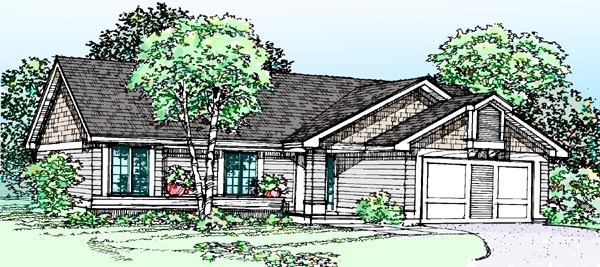 House Plan 99318 | Ranch Style Plan with 1159 Sq Ft, 3 Bedrooms, 2 Bathrooms Elevation