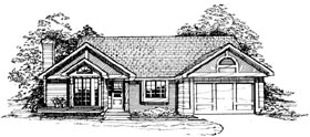 Ranch House Plan 99324 with 3 Beds, 2 Baths, 2 Car Garage Elevation